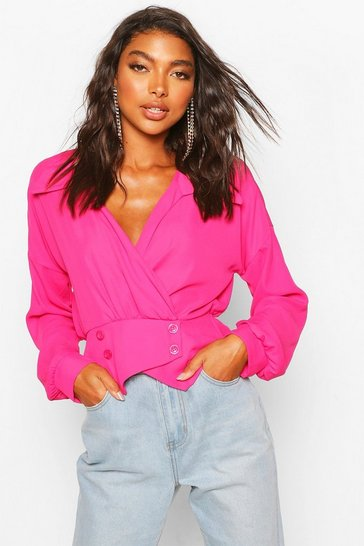 Candy pink Tall Woven Tux Detail Wrap Blouse