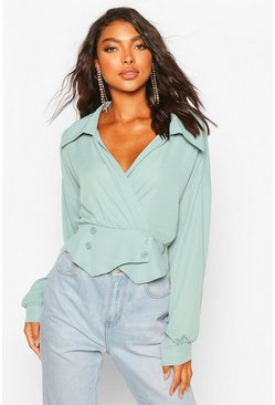 Sage Tall Woven Tux Detail Wrap Blouse