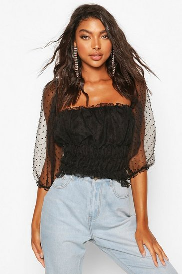 Black Tall Organza Dobby Mesh Polka Dot Crop Top