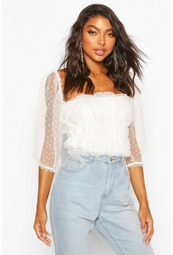 White Tall Organza Dobby Mesh Polka Dot Crop Top