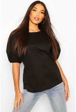 Black Tall Cotton Poplin Balloon Sleeve Top