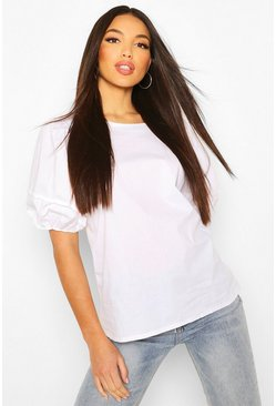 Ivory Tall Cotton Poplin Balloon Sleeve Top