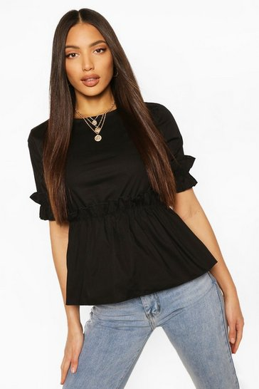 Black Tall Cotton Poplin Ruffle Smock Top