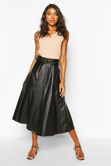 Black Tall PU Belted Skater Midi Skirt