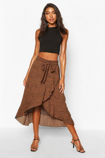 Tall Woven Leopard Print Wrap Over Midi Skirt