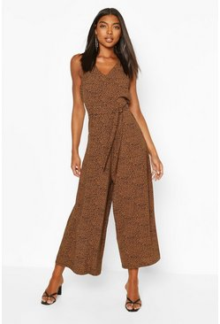 Tall Woven Leopard Culotte Jumpsuit