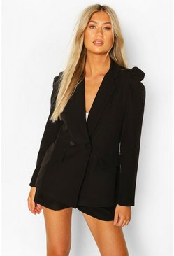 Black Tall Woven Tailored Puff Shoulder Blazer