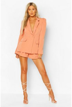 Blush Tall Woven Tailored Puff Shoulder Blazer