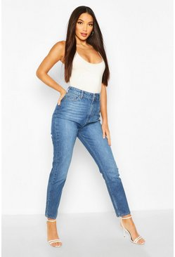 Mid blue Tall Denim High Waisted Straight Leg Jeans