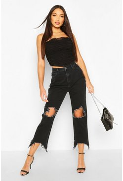 Black Tall Denim Ripped & Frayed Knee Straight Jeans