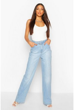 Blue Tall Denim High Waisted Belted Straight Leg Jeans