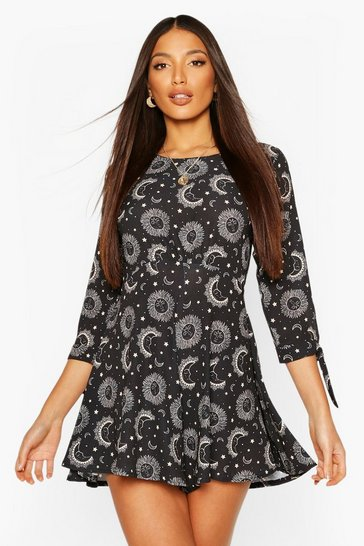 Black Tall Woven Celestial Print Playsuit