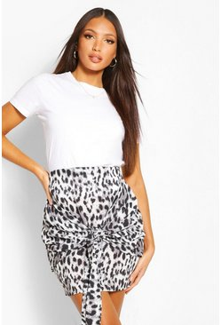 Tall Woven Leopard Print Tie Mini Skirt