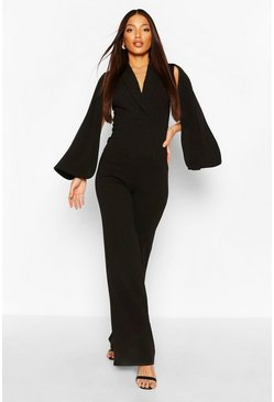 Black Tall Cape Plunge Wide Leg Jumpsuit