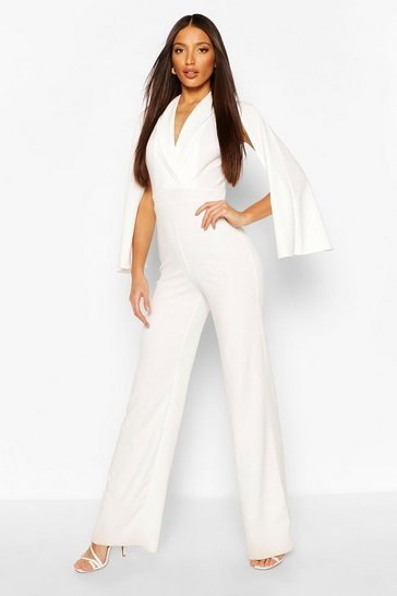 Ivory Tall Cape Plunge Wide Leg Jumpsuit