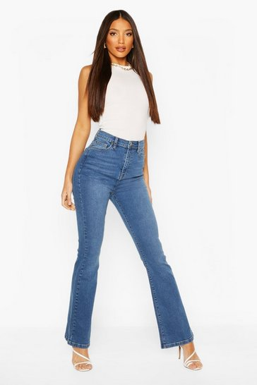Mid blue Tall Denim High Waisted Skinny Flared Jeans