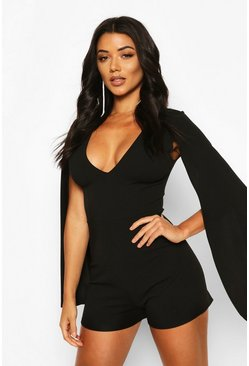 Black Tall Cape Plunge Front Playsuit