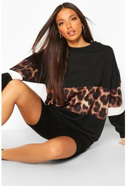 Black Tall Leopard Colour Block Oversized Sweat