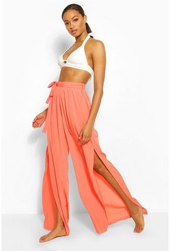 Coral Tall Belted Side Spilt Beach Trousers