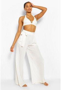 White Tall Belted Side Spilt Beach Trousers