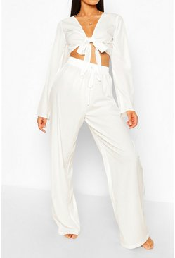 White Tall Tie Front Crop & Trouser Co-Ord
