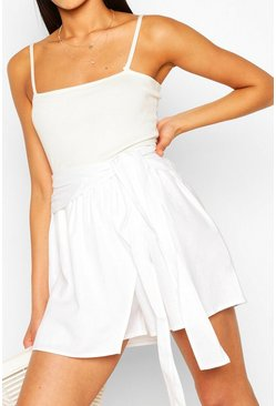 Ivory Tall Linen Look Shorts
