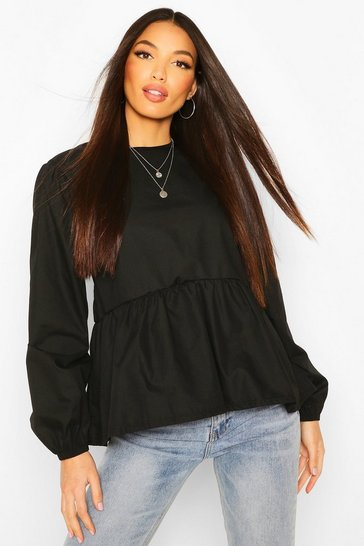 Black Tall Poplin Smock Top