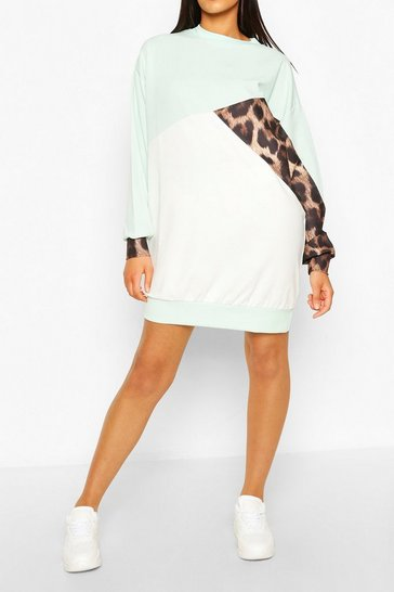 Mint Tall Leopard Colour Block Sweat Dress