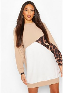 Stone Tall Leopard Colour Block Sweat Dress