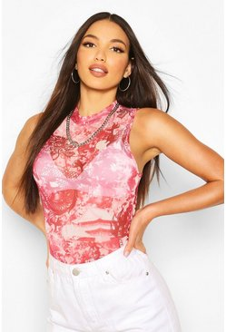 Pink Tall Oriental Mesh Sleeveless Bodysuit