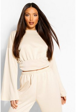 Ecru Tall Ruched Hem Straight Sleeve Sweat