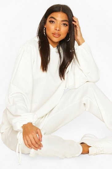 Ivory Tall Ruched Sleeve Hoody