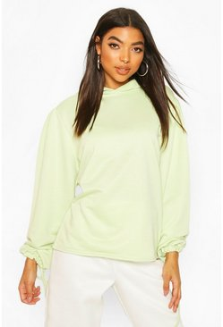 Mint Tall Ruched Sleeve Hoody