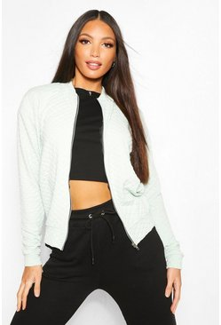 Mint Tall Quilted Jersey Bomber Jacket