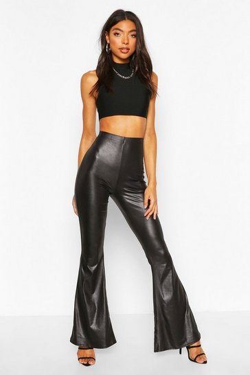 Black Tall Faux Leather Look Flares
