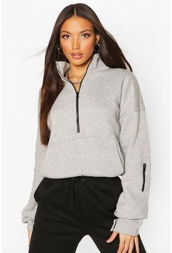Grey Tall High Neck Zip Front Sweat Top