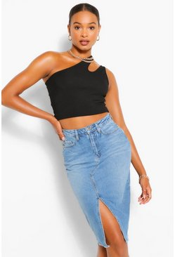 Mid blue Tall Split Front Denim Midi Skirt