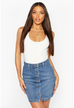 Mid blue Tall Button Through Denim Mini Skirt