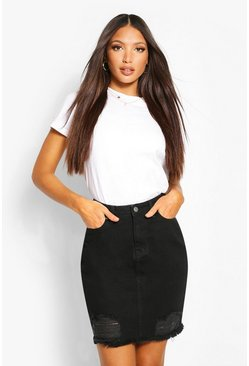 Black Tall Distressed Hem Denim Skirt