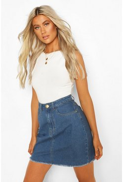 Mid blue Tall Basic Denim Skirt