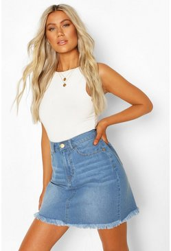 Mid blue Tall Fray Hem Basic Denim Skirt