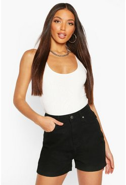 Black Tall Disco Denim Shorts