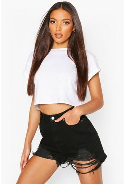 Black Tall Distressed Hem Denim Shorts