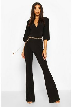 Black Tall Slinky Plunge Flared Jumpsuit