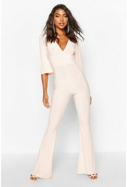 Rose Tall Slinky Plunge Flared Jumpsuit