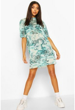 Green Tall Mesh Oriental Print T-Shirt Dress
