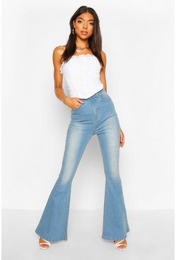 Blue Tall High Waist Light Wash Flared Jeans