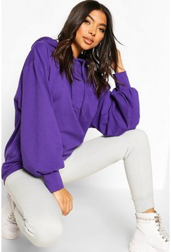 Violet Tall Hooded Extreme Sleeve Sweat Top