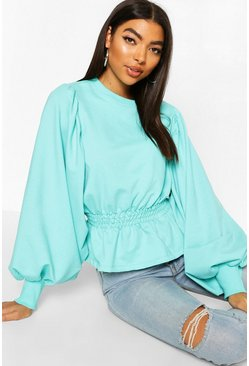 Turquoise Tall Extreme Balloon Sleeve Sweat Top