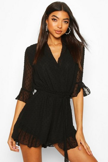 Black Tall Dobby Mesh Ruffle Playsuit